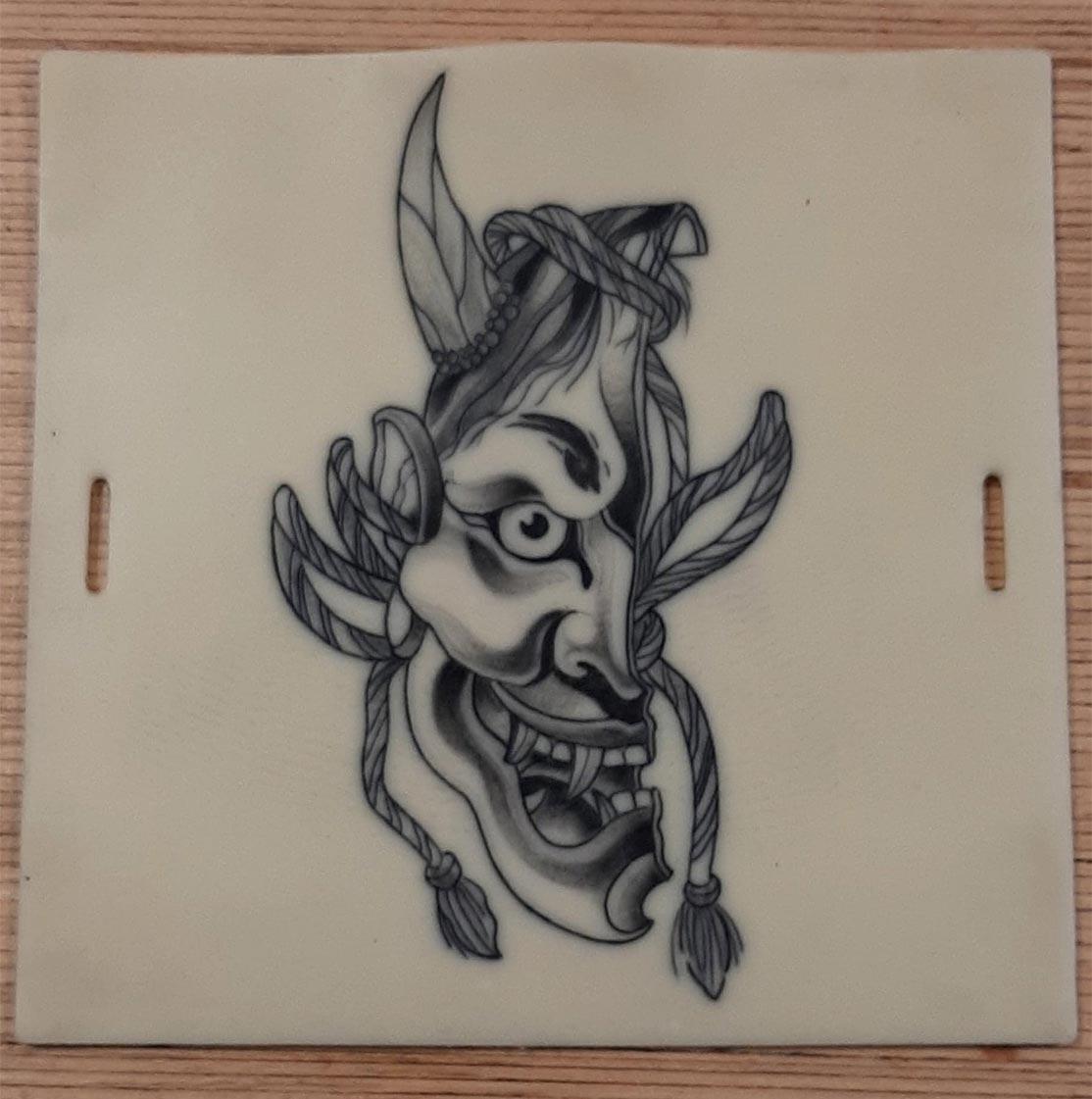 Apprentissage tatouage masque japonais CTA